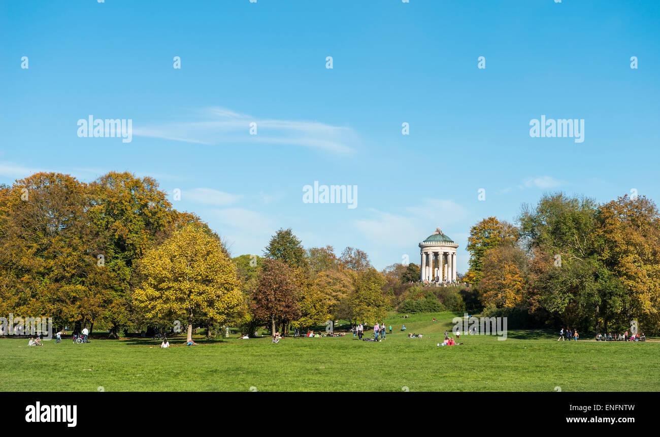 Lawn, Monopterus, Englischer Garten public park, Munich, Upper Bavaria, Bavaria, Germany - Stock Image