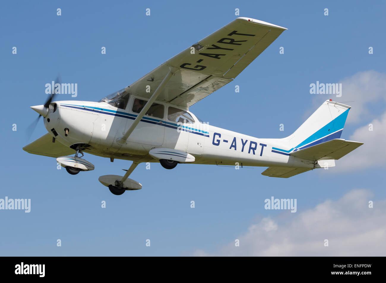 Reims Cessna 172K, built 1972, Registered G-AYRT, in flight at Breighton
