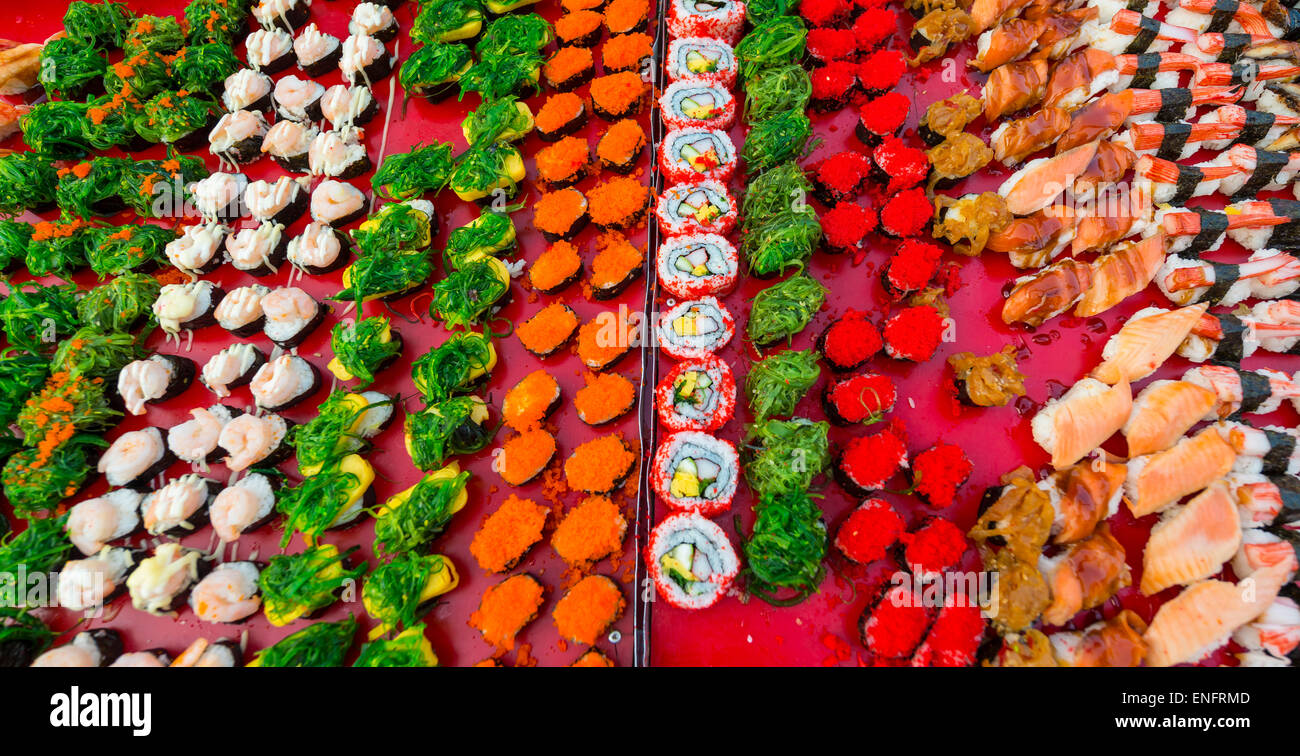 Various colourful sorts of Sushi, Thailand - Stock Image