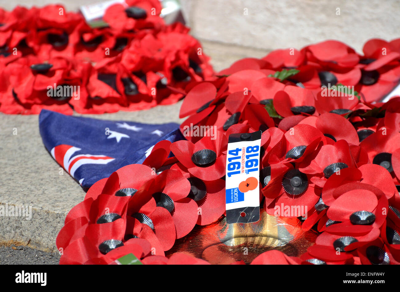 London, England, UK. Poppy wreaths laid at the Cenotaph in Whitehall after 100th anniversary Anzac Day commemorations, - Stock Image