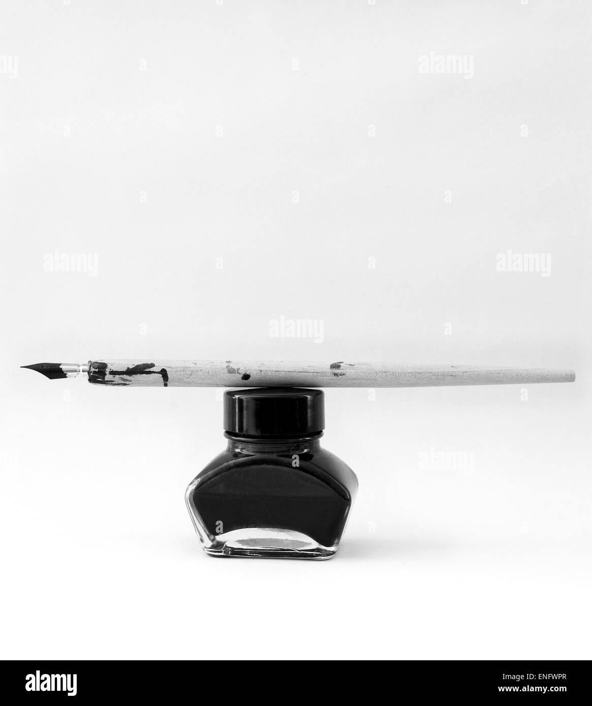 Old pen and ink pot - Stock Image