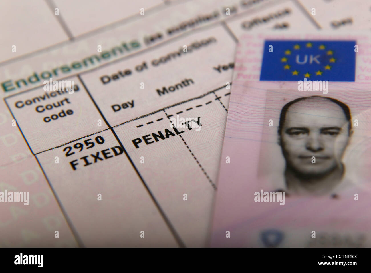 A United Kingdom Paper and Plastic Card Driving Licence - Stock Image