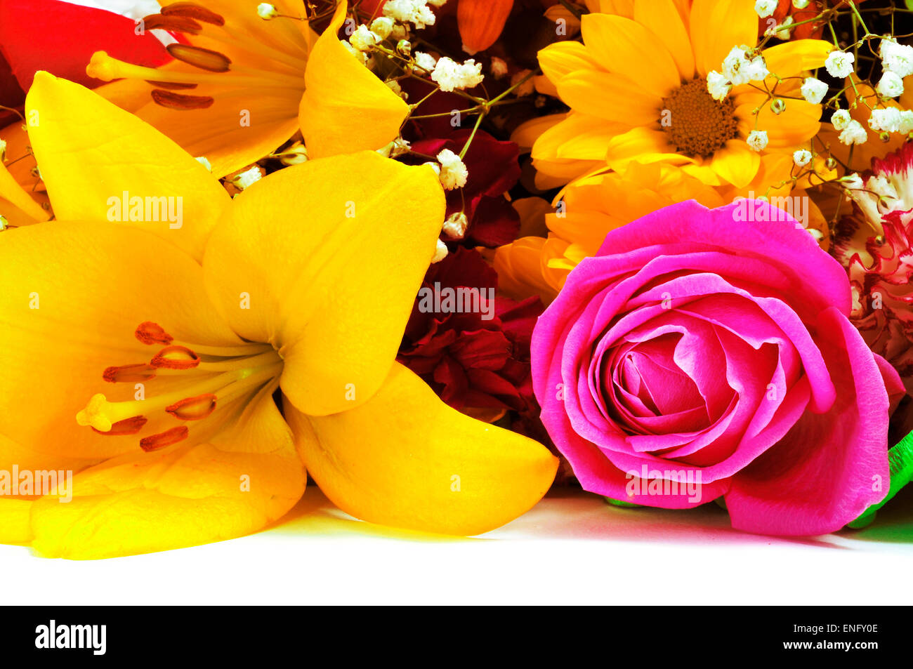 closeup of a flower bouquet with different flowers, such as roses, daisies and liliums - Stock Image