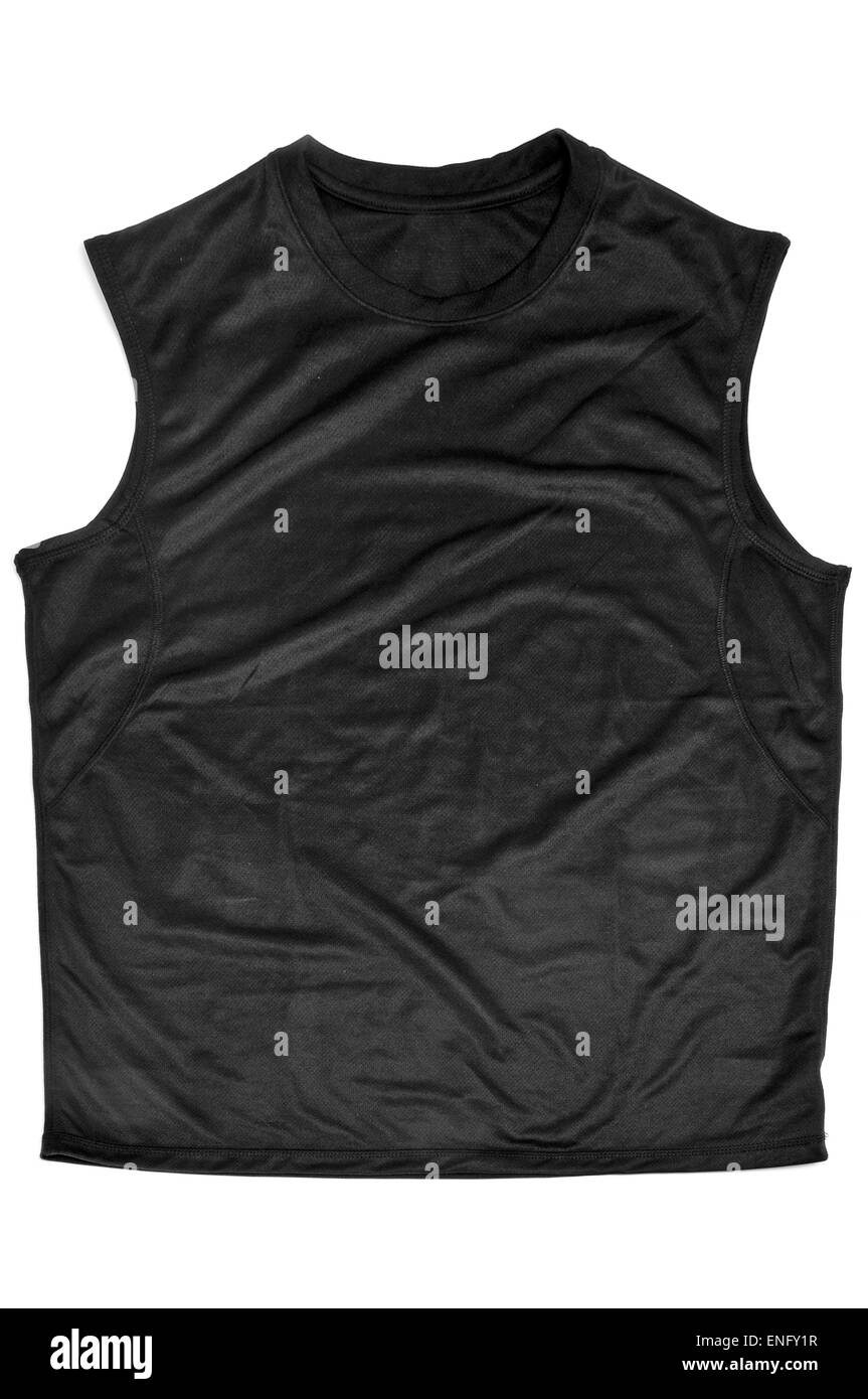 a black breathable polyester sports sleeveless T-shirt on a white background - Stock Image