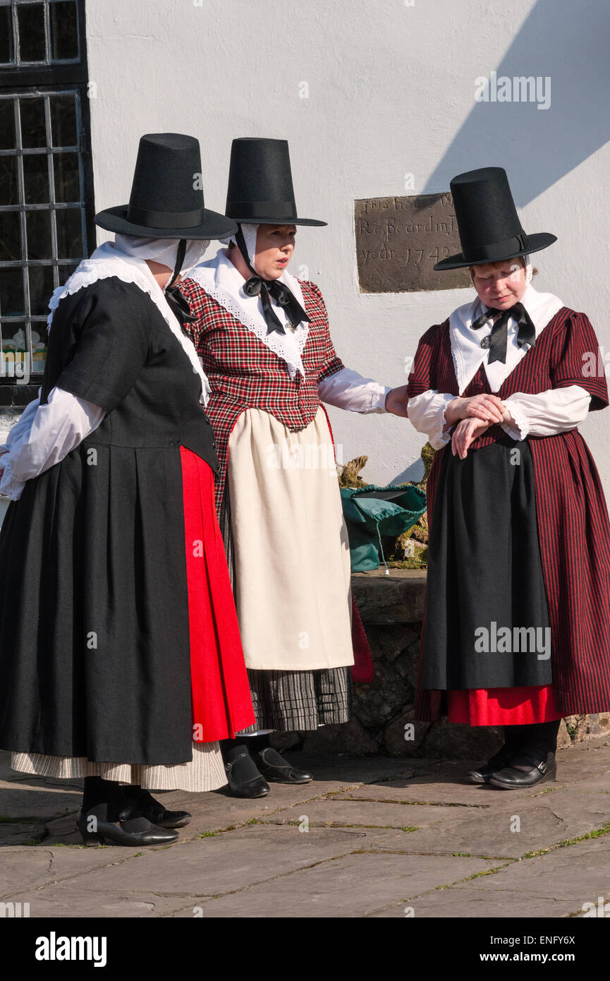b2f990130 Women in traditional Welsh period dress at Llanover Hall, Abergavenny, Wales,  UK.
