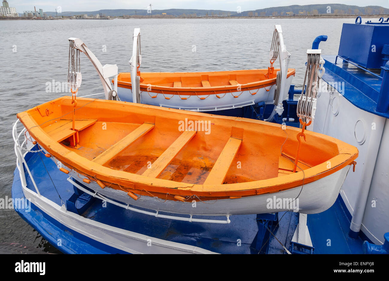 Safety lifeboats of the river cruise passenger ship - Stock Image