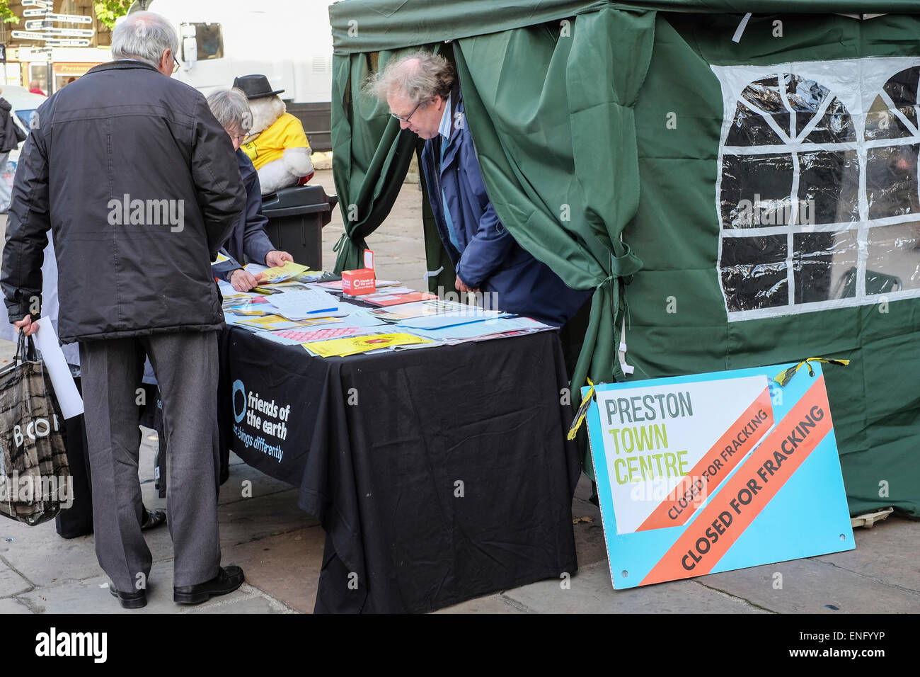 Anti-Fracking campaigners give out information in Preston, Lancashire - Stock Image
