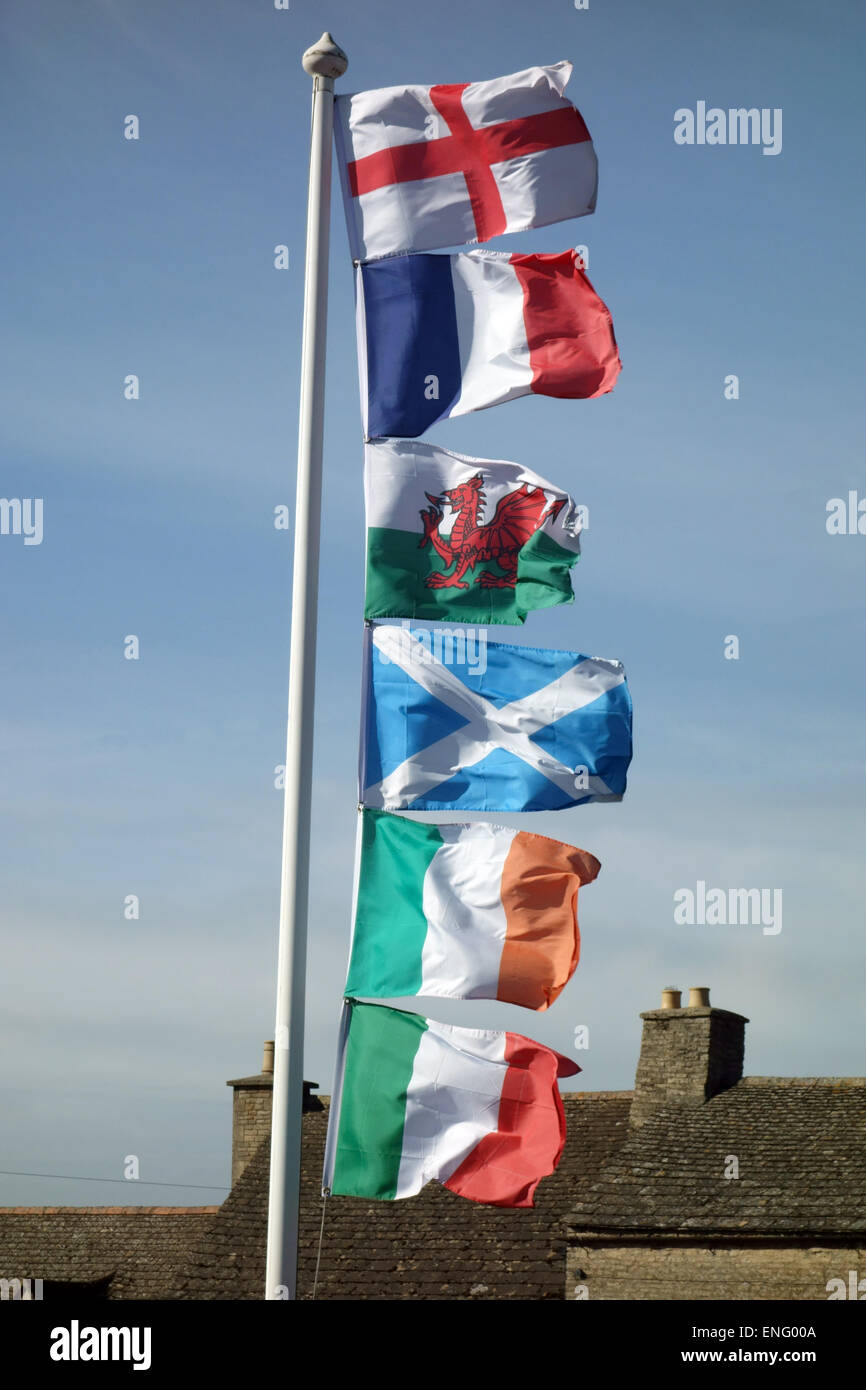 Six nations national flags - Stock Image