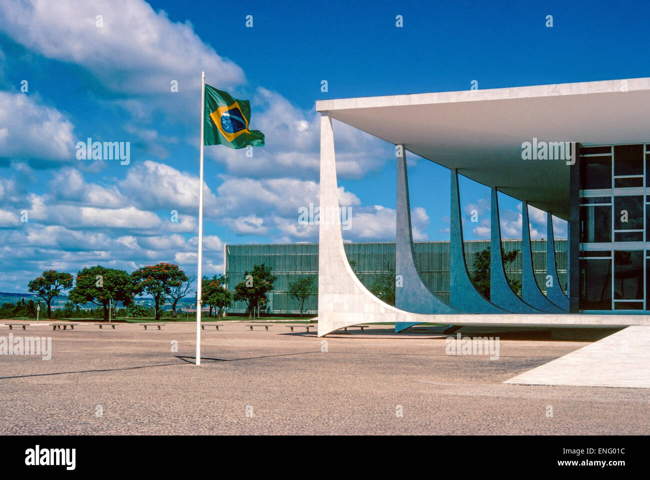 Brazil, Brasilia, the Alvorada palace, residence of the President of the Republic - Stock Image