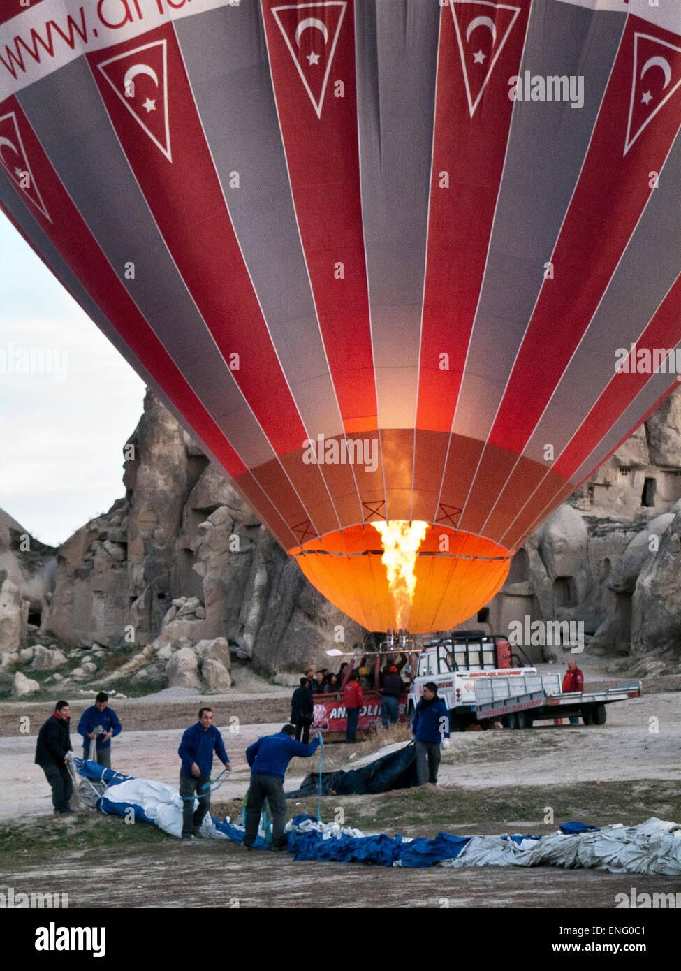 preparing a baloon in cappadocia, turkey - Stock Image
