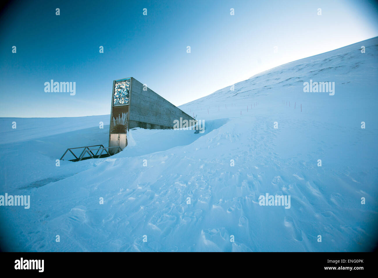 Spitsbergen, Norway. 08th Apr, 2015. The entrance to the international gene bank Svalbard Global Seed Vault (SGSV) - Stock Image