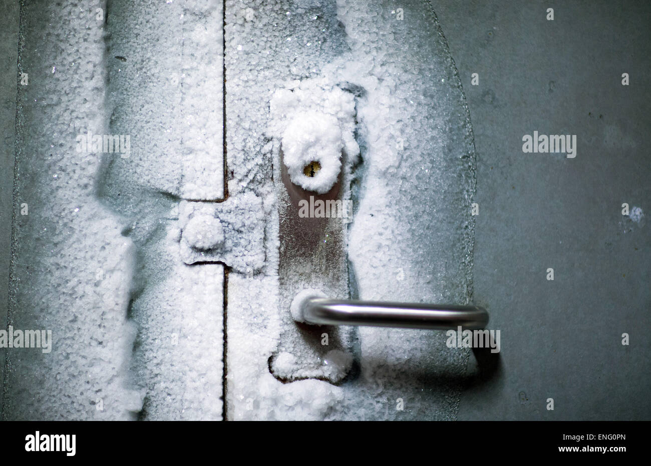 Spitsbergen, Norway. 08th Apr, 2015. An iced entrance door to the international gene bank Svalbard Global Seed Vault - Stock Image