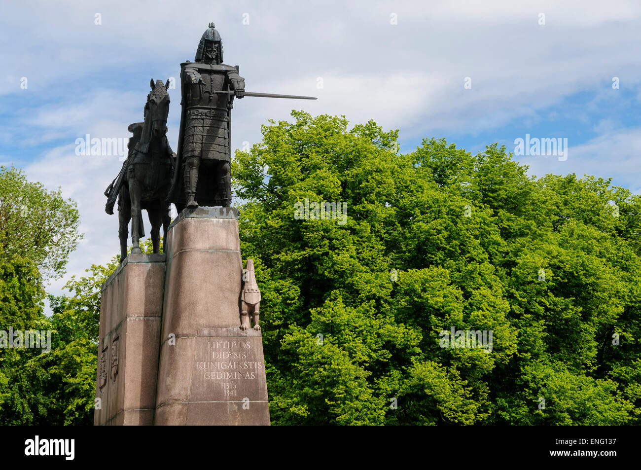 Monument of Grand Duke Gediminas with Horse in Vilnius, Lithuania, Europe - Stock Image