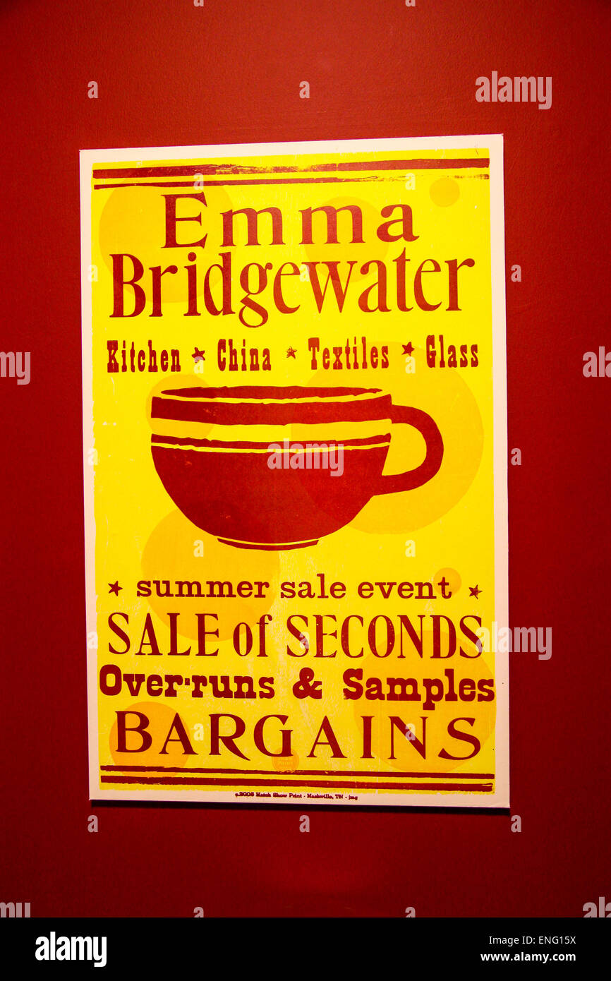 A poster for a sale of seconds of Emma Bridgewater pottery - Stock Image
