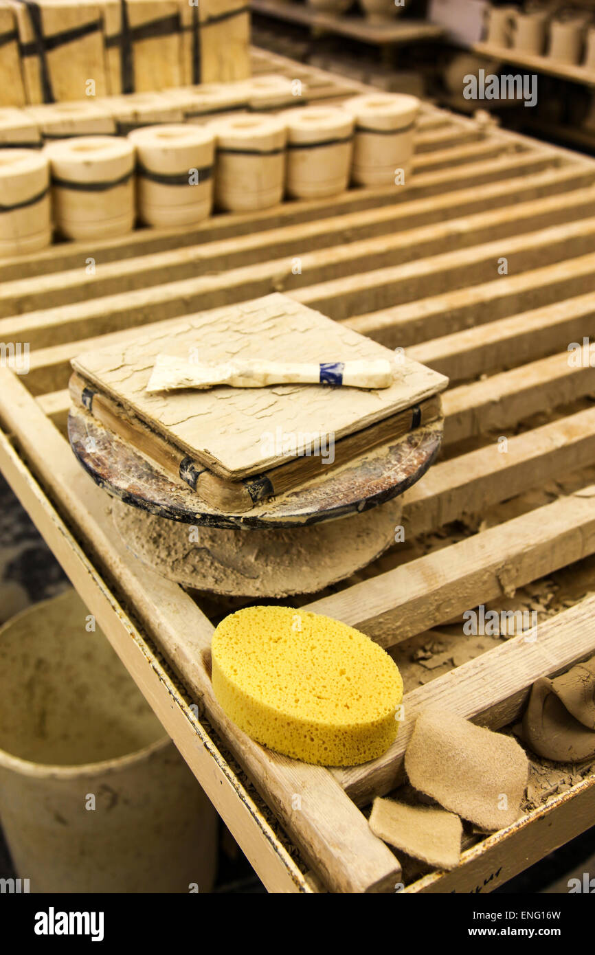 Tools of the pottery trade at the Emma Bridgewater pottery factory Stoke on Trent - Stock Image