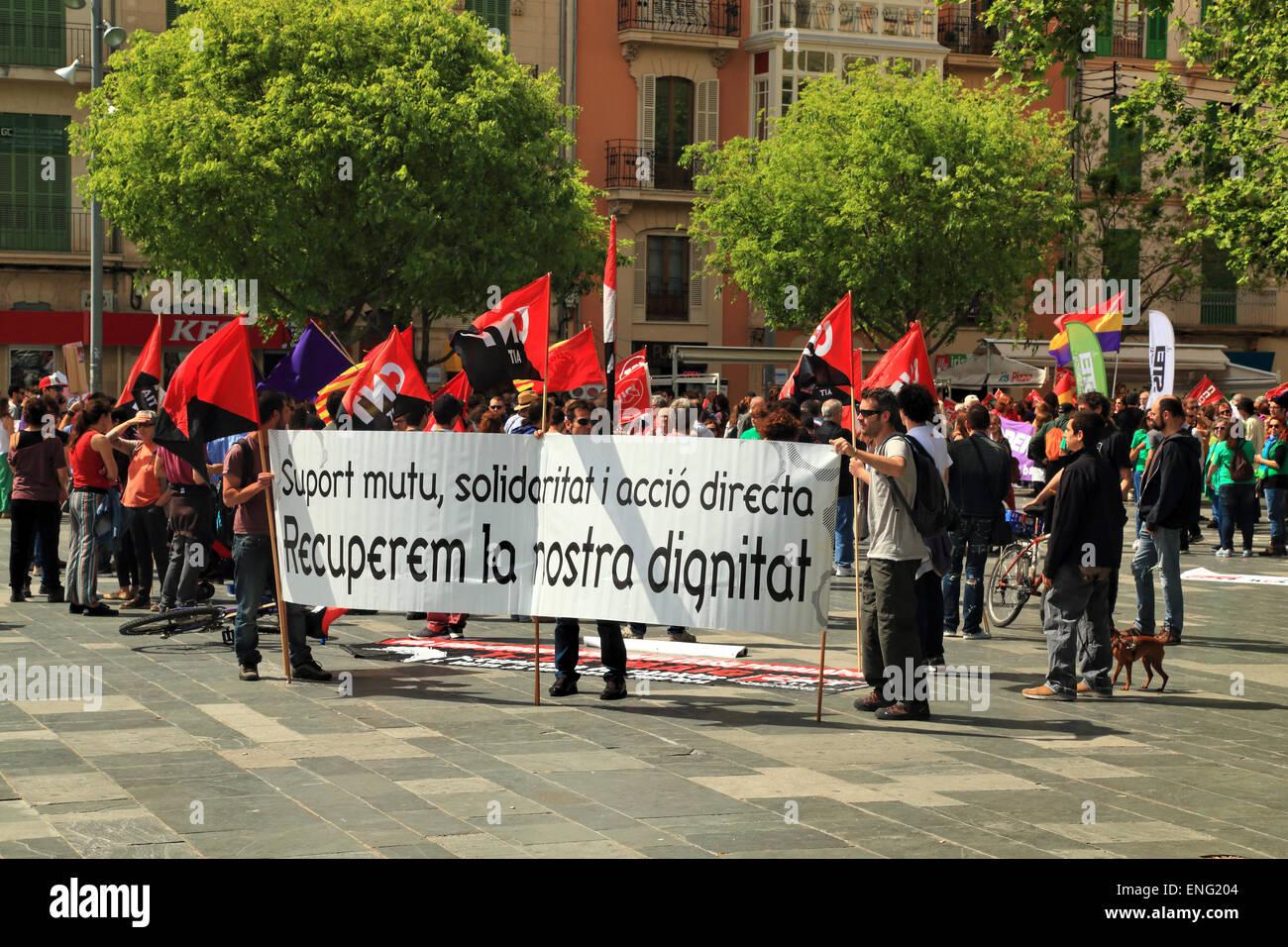 Labour Day street demonstration on 1 May, Palma, Mallorca Island, Spain - Stock Image