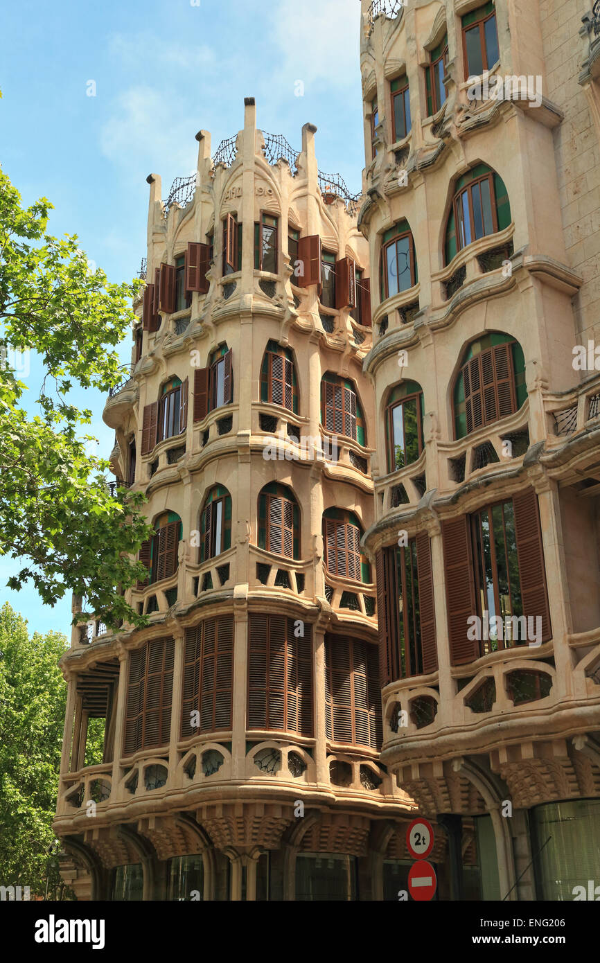 Art Nouveau Jungendstil architecture: The Can Casasayas building in Palma de Mallorca - Stock Image