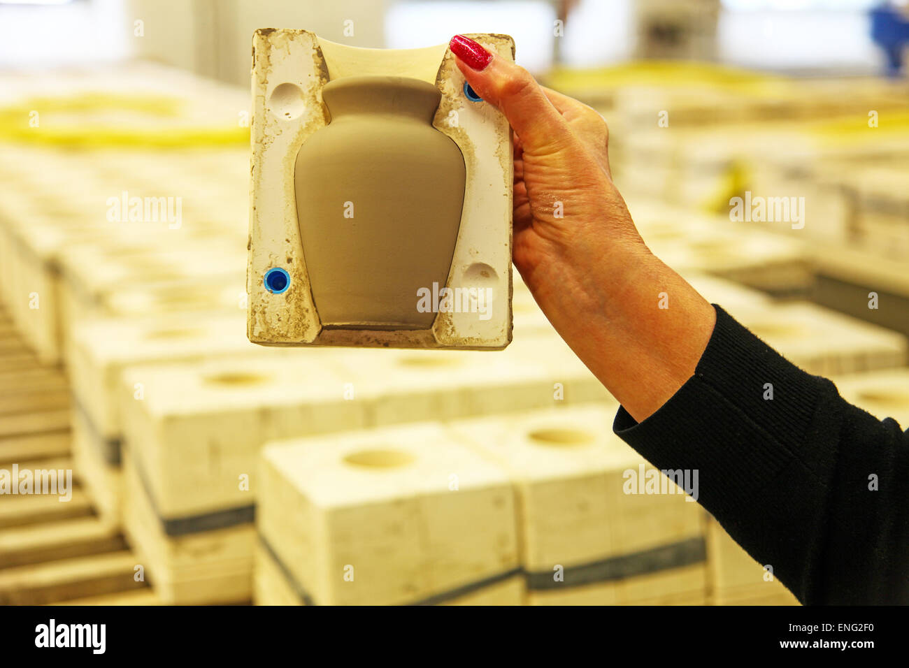 A clay vase in a mould or mold at the Emma Bridgewater pottery factory, Hanley, Stoke on Trent, Staffordshire, England, - Stock Image
