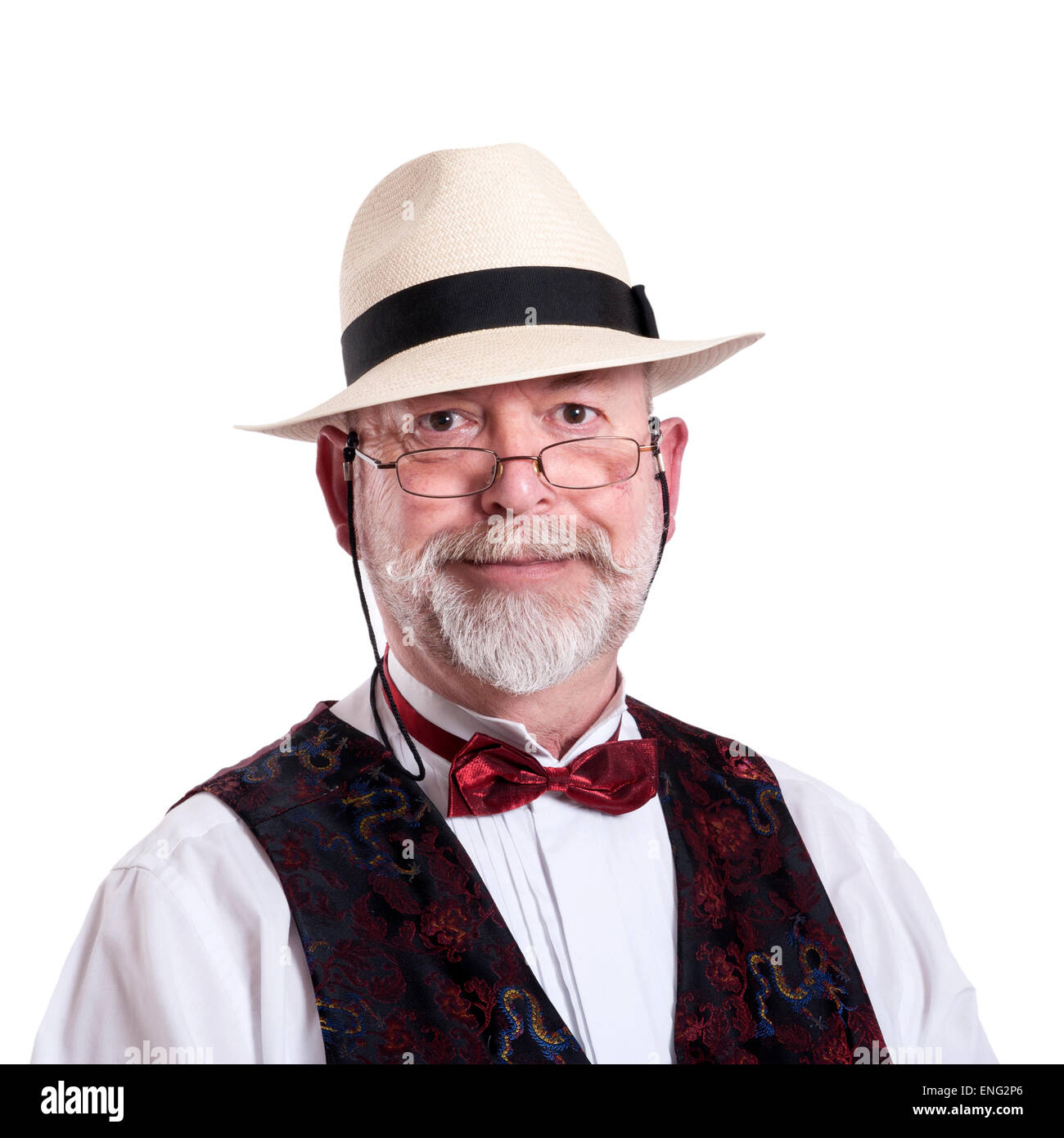 75962331903878 Old man with panama hat, beard, bow tie and glasses Stock Photo ...