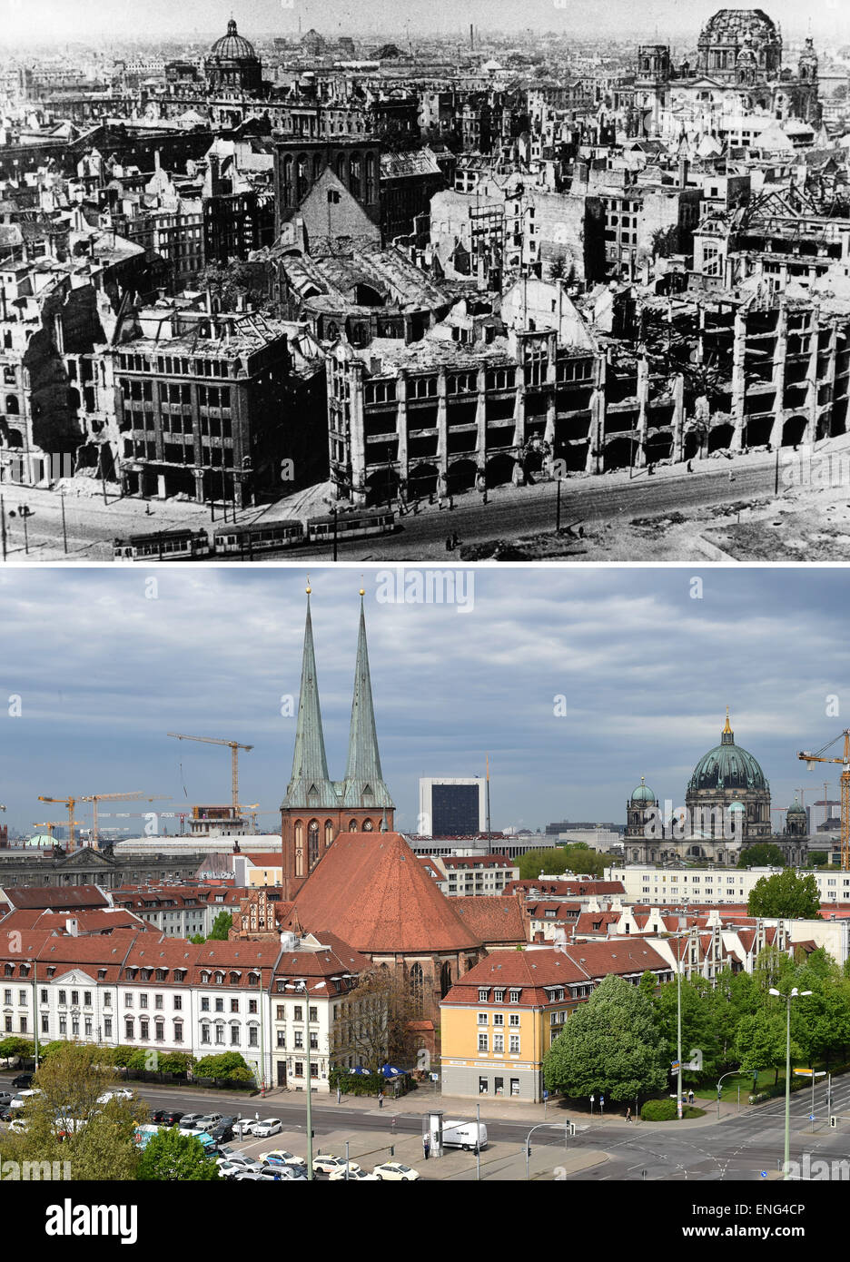 Berlin, Germany. 5th May, 2015. The upper aerial image shows the ruins of the Nikolaiviertel with the Saint Nicholas Stock Photo