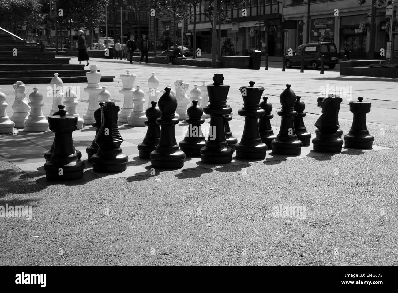 Huge chess board outside Leeds Central Library as public art. - Stock Image