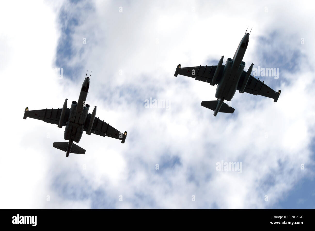 Moscow, Russia. 5th May, 2015. Jet air supporters Sukhoi Su-25 fly during the miliary parade rehearsal in Kubinka, Stock Photo