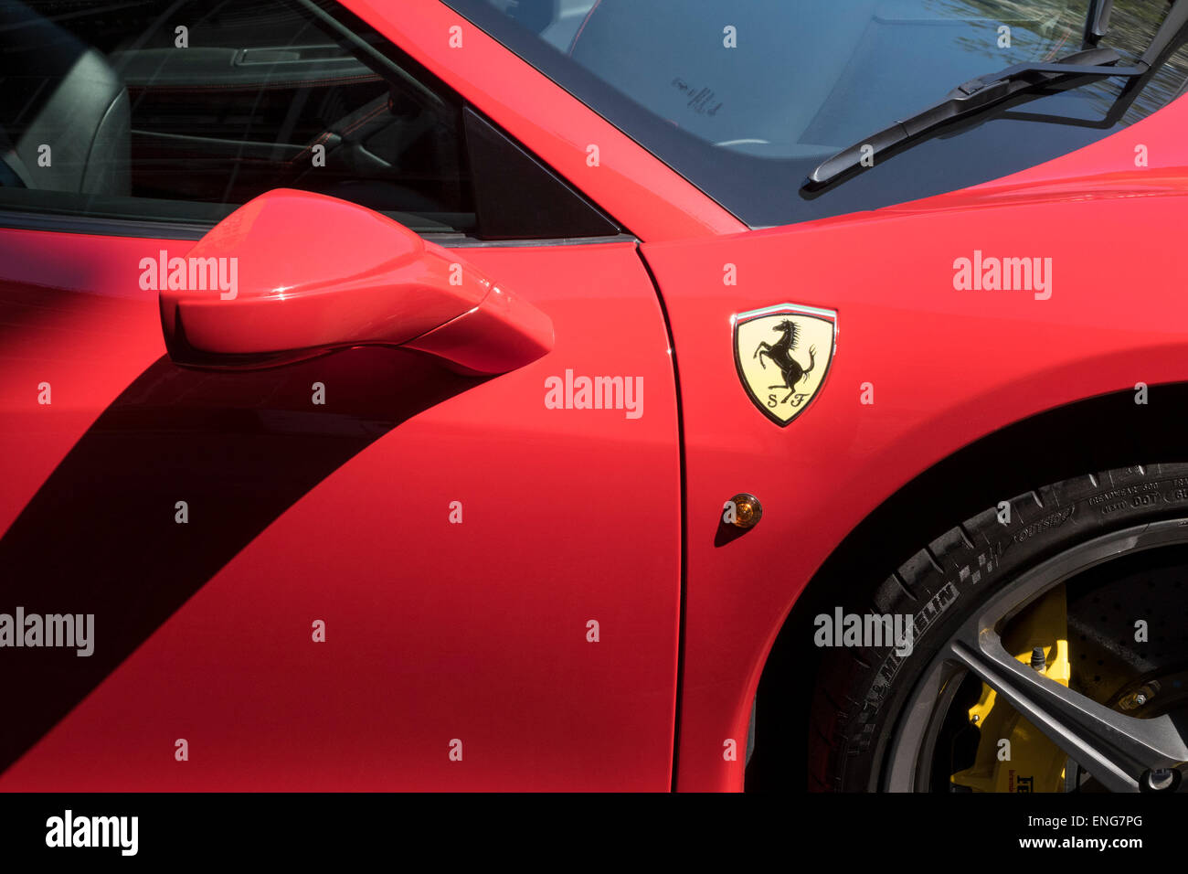 A Red Ferrari With Horse Logo Stock Photo 82106600 Alamy