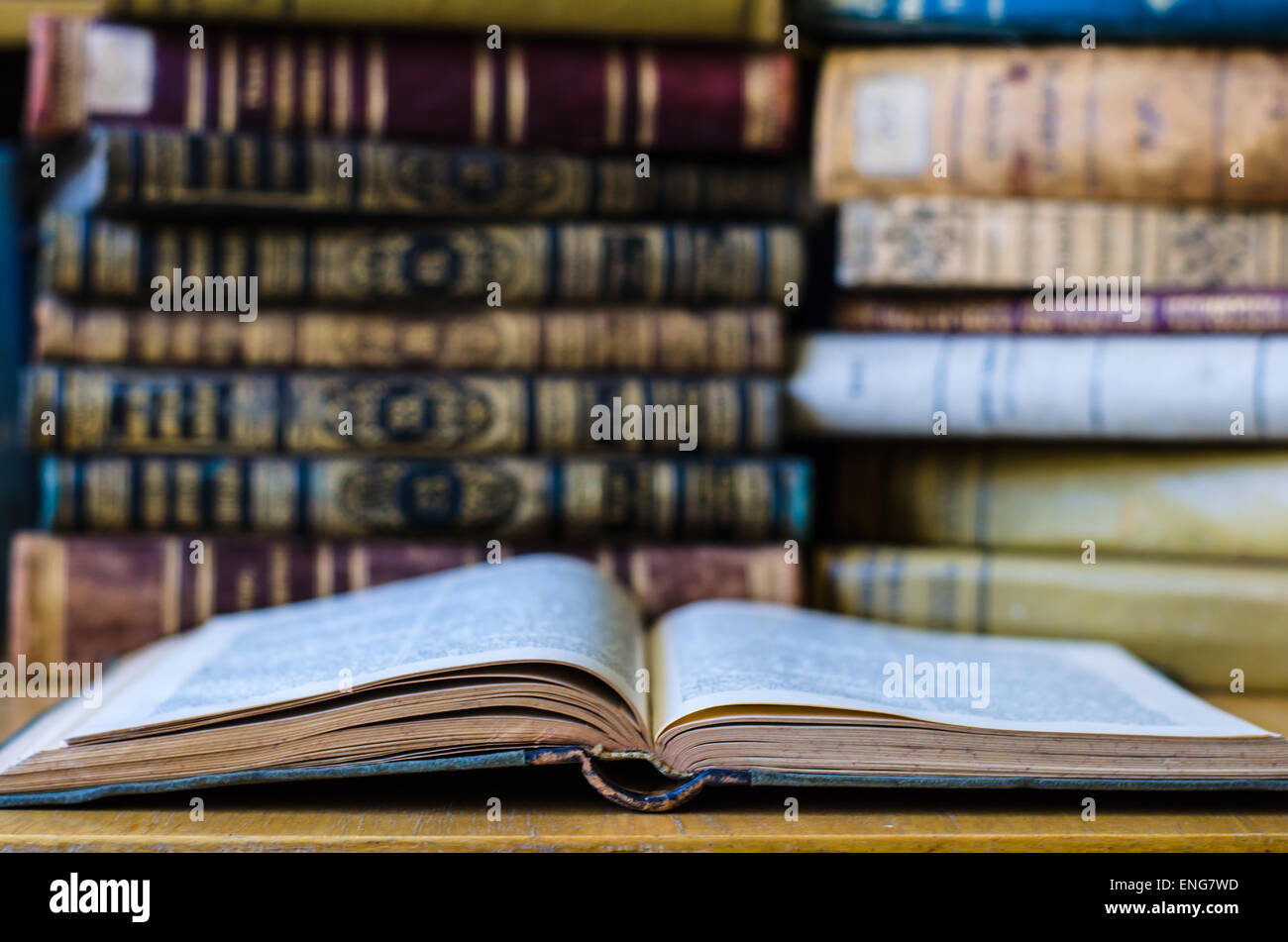 old ancient books in old Prussian language Stock Photo