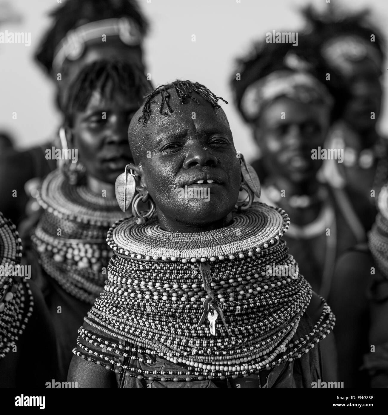 Turkana Tribe Women With Huge Necklaces, Turkana Lake, Loiyangalani, Kenya - Stock Image