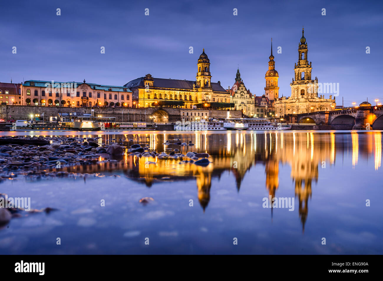 Dresden, Germany old town skyline on the Elbe River. Stock Photo