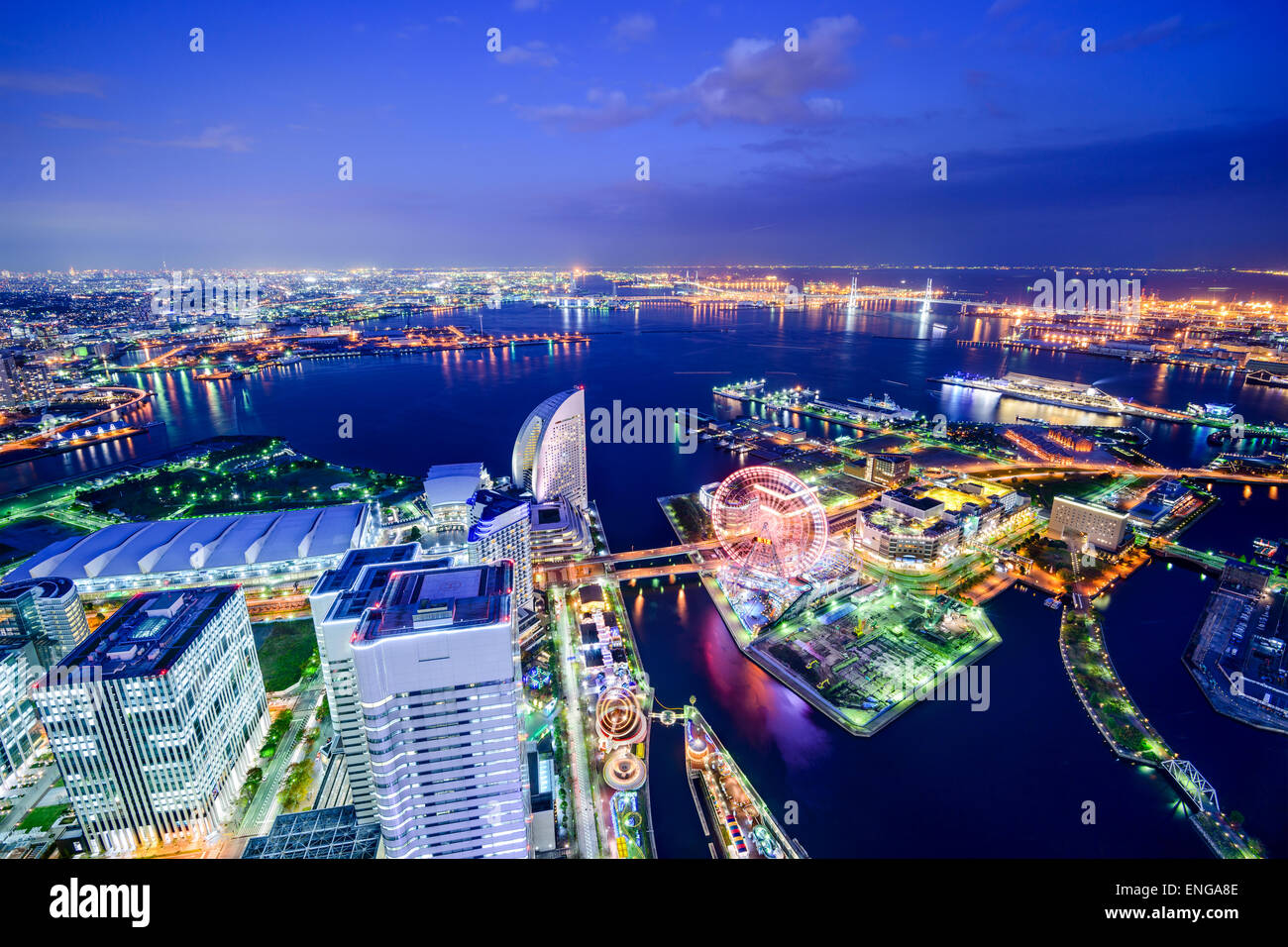 Yokohama, Japan aerial view at Minato Mirai waterfront district. Stock Photo