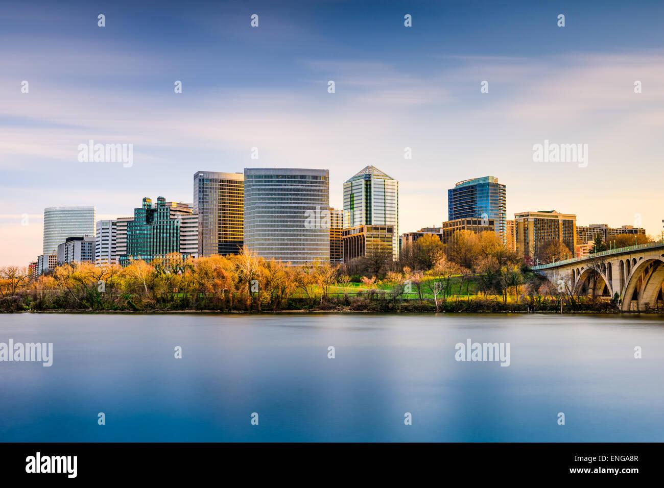 Rosslyn, Arlington, Virginia, USA city skyline on the Potomac River. - Stock Image