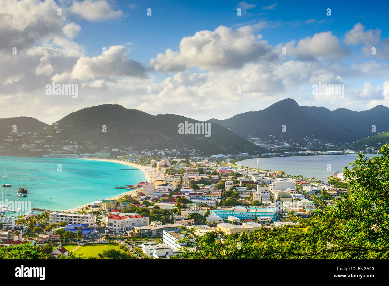 Philipsburg, Sint Maarten, cityscape at the Great Salt Pond. - Stock Image