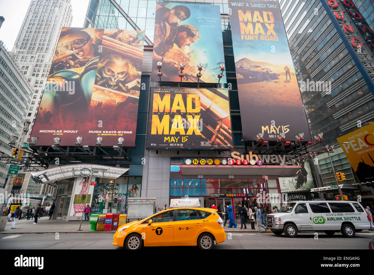 A billboard in Times Square on Friday, May 1, 2015 promotes the soon to be released film 'Mad Max: Fury Road'. - Stock Image