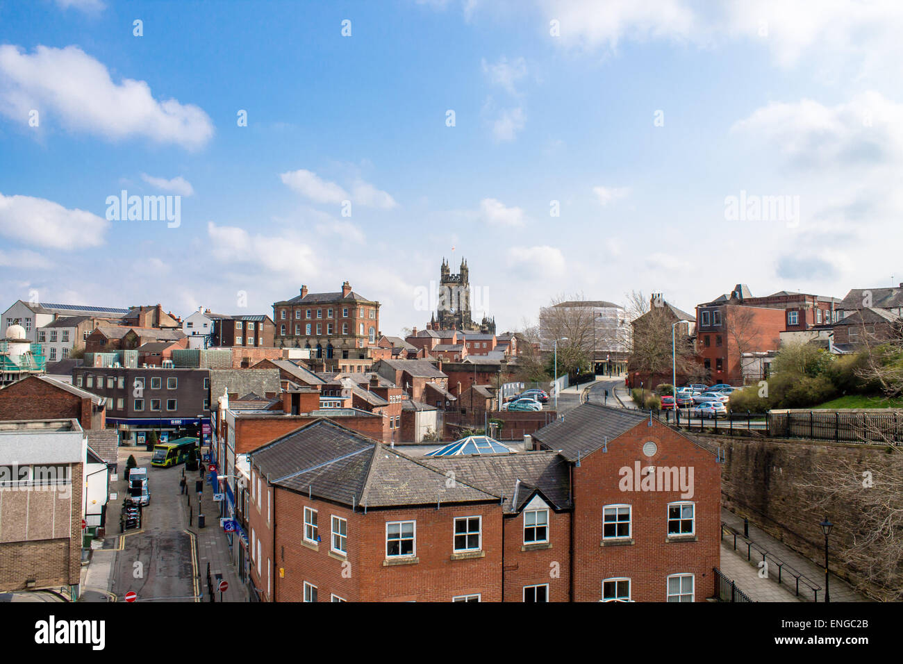 Cityscape in market town of Stockport, United Kingdom. - Stock Image