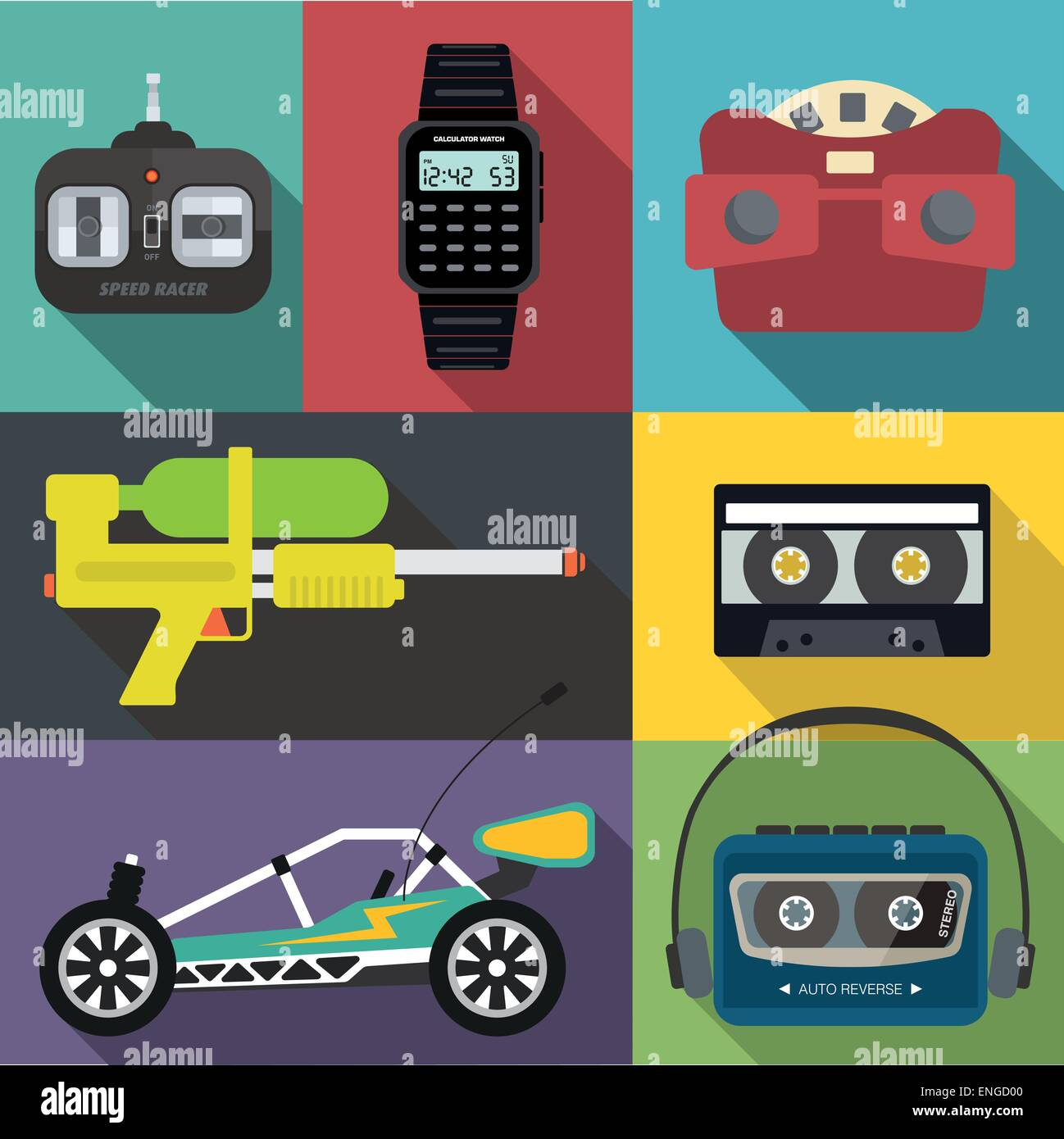 A set of eighties and nineties items - Stock Vector