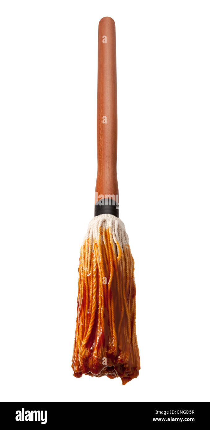 Barbecue Sauce Basting Mop with a Wooden Handle. This cooking utensil is a cut out, isolated on a white background. - Stock Image