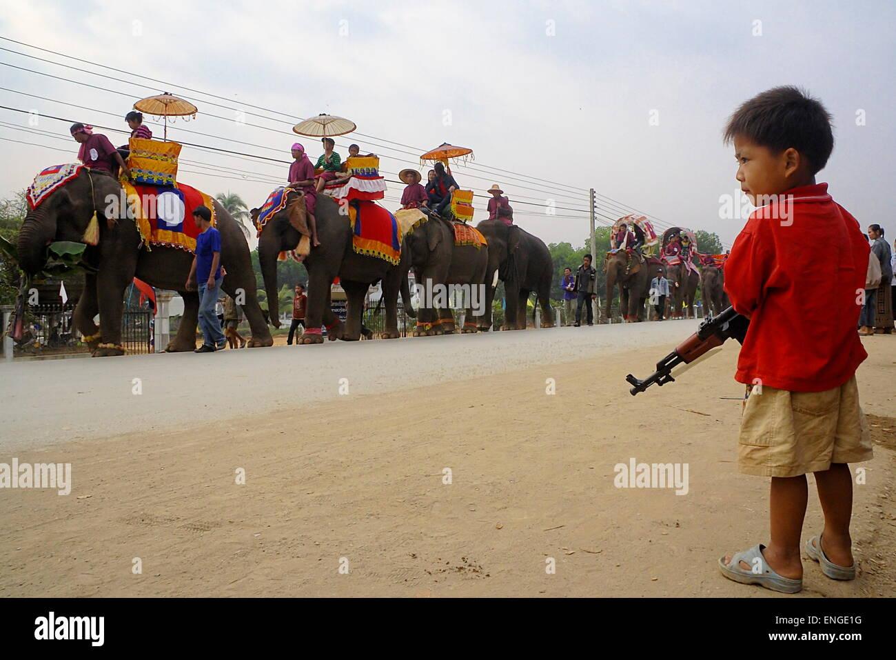 Lao Elephant Festival Sanyabouri - Stock Image