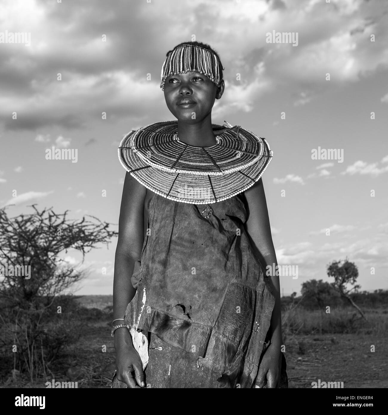 A Pokot Woman Wears Large Necklaces Made From The Stems Of Sedge Grass, Baringo County, Baringo, Kenya - Stock Image