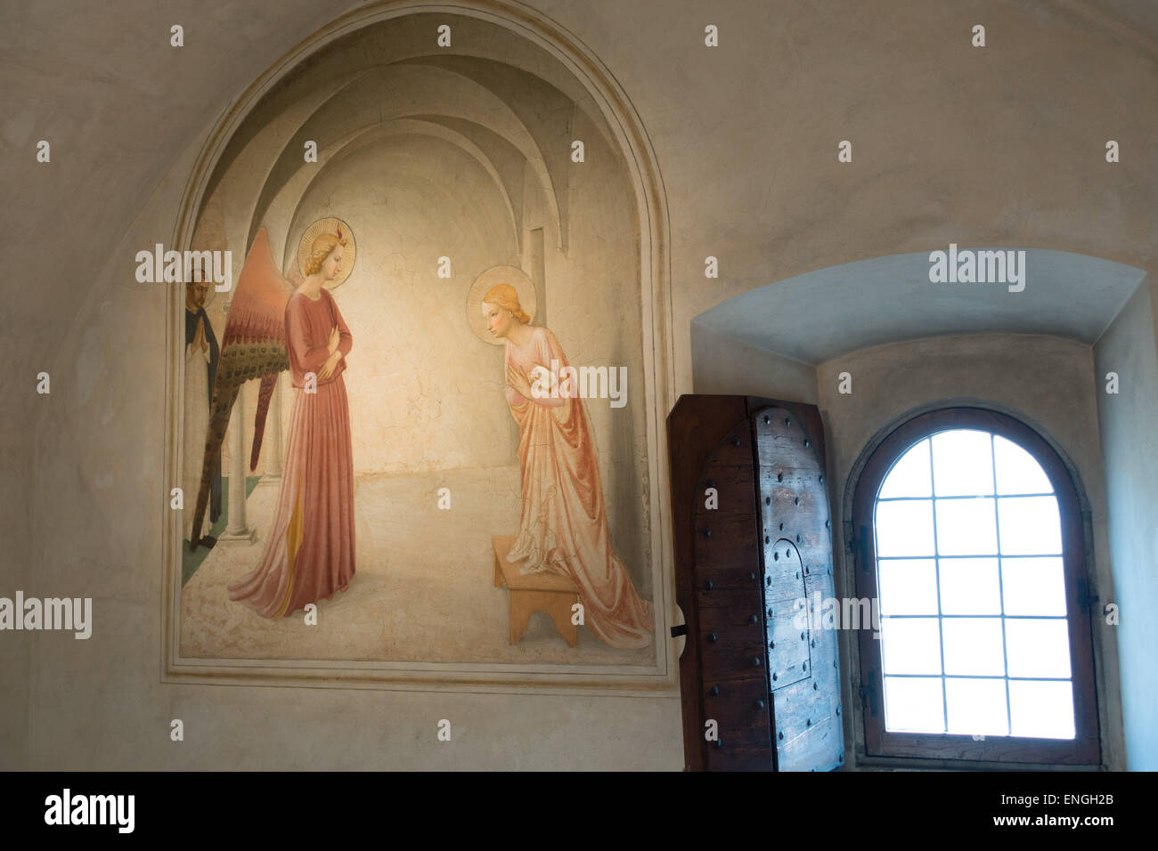 Fresco of the Annunciation by Fra Angelico in a cell in the Convent ...