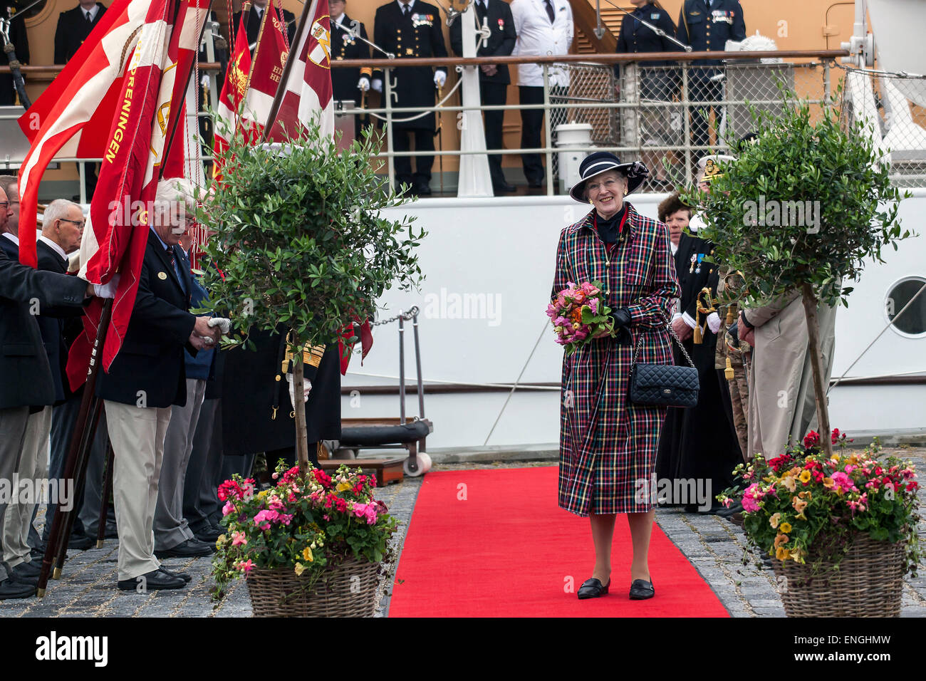 Helsingore, Denmark. 5th May, 2015. H. M. Queen Margrethe arrives onboard the royal ship, Danneborg, with the Prince - Stock Image