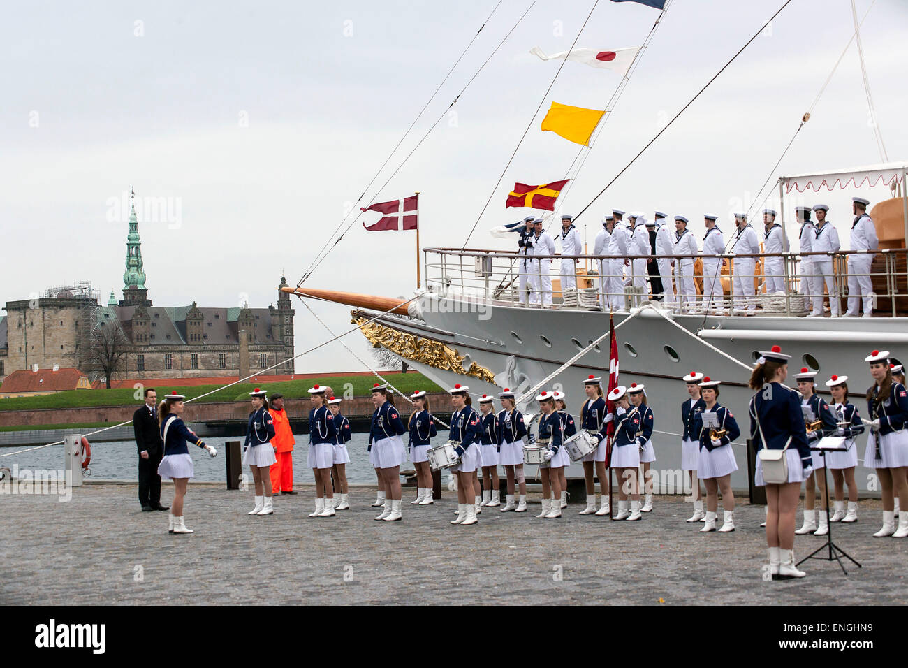 Helsingore, Denmark. 5th May, 2015. The royal ship, Dannebrog, arrives with H.M. Queen Margrethe and Prince Consort - Stock Image
