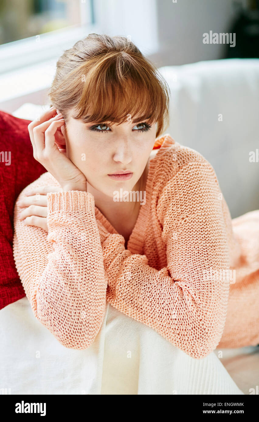 Sad looking girl - Stock Image