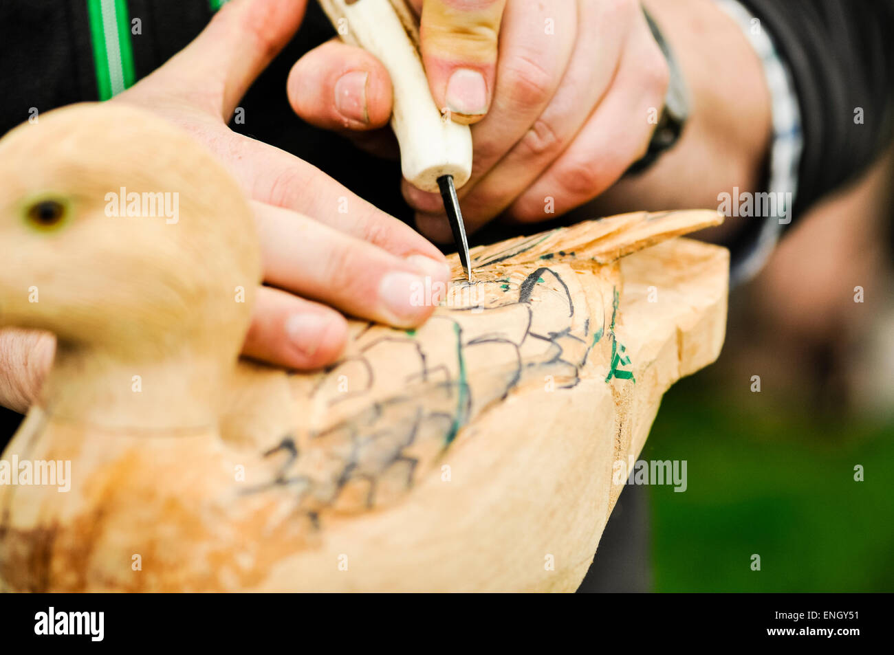 A man uses a small chisel to carve a wooden duck - Stock Image