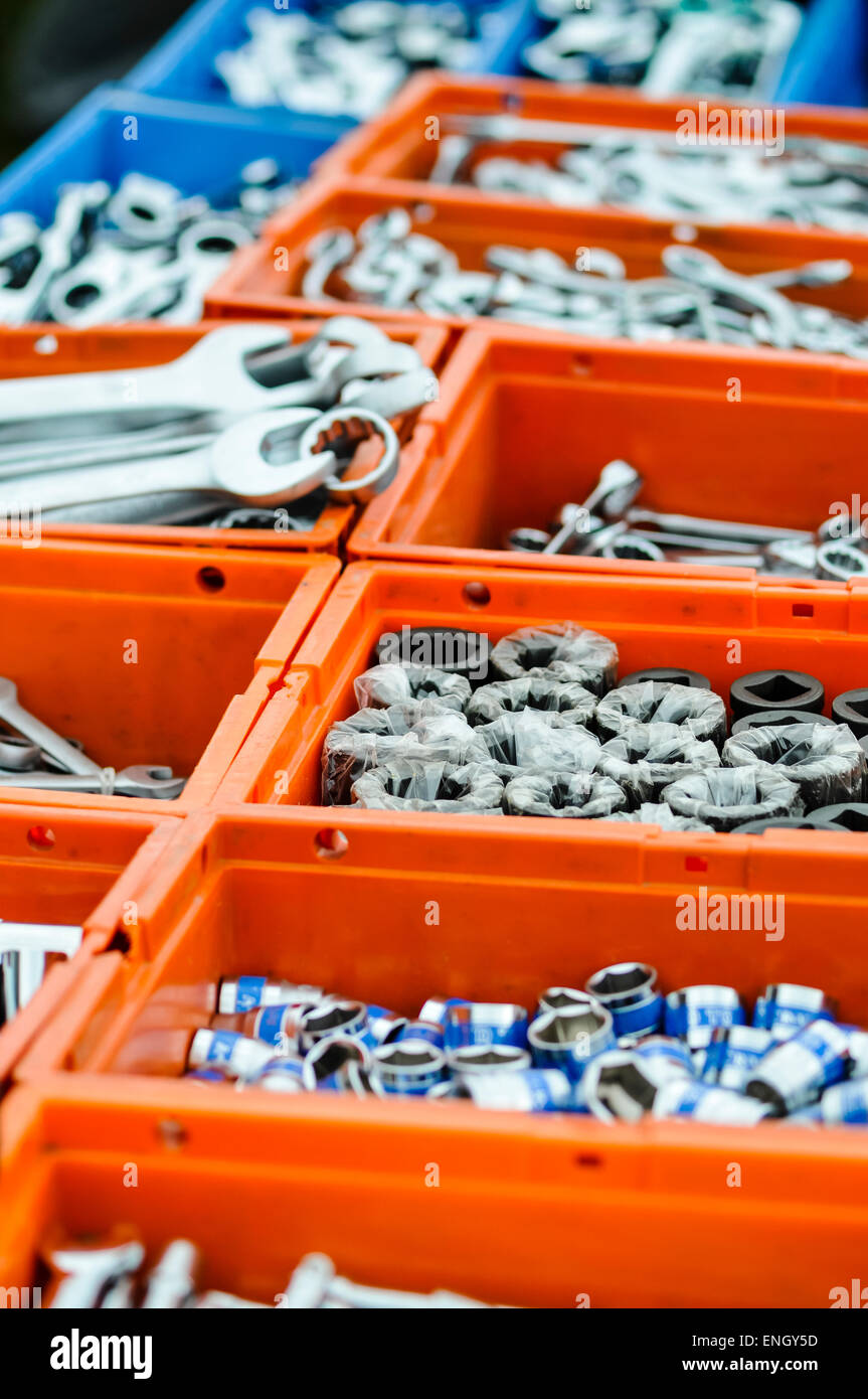 Spanners and bolt sockets on sale at a hardware store. - Stock Image