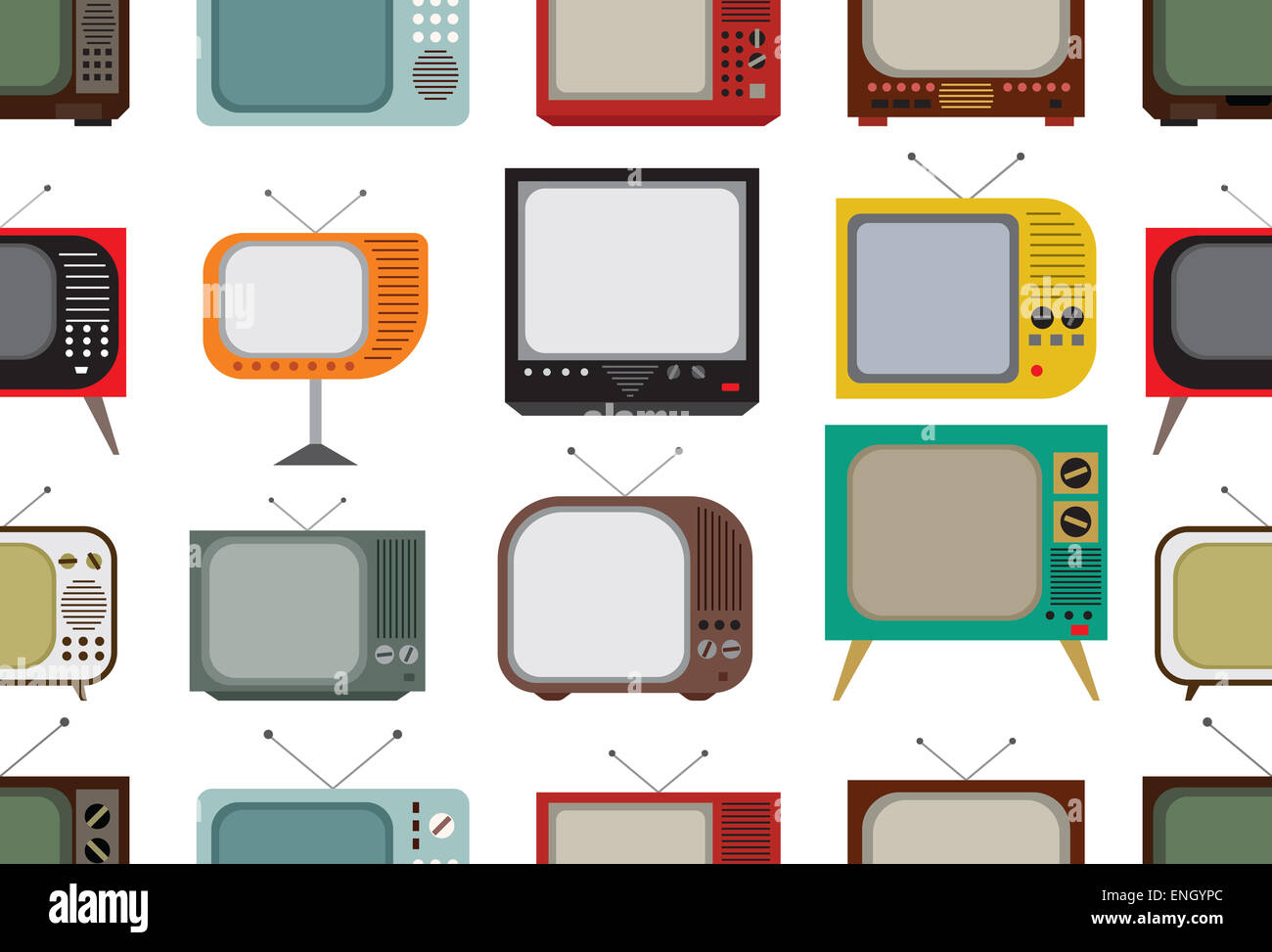 Vector illustrations of the Retro tv pattern - Stock Image