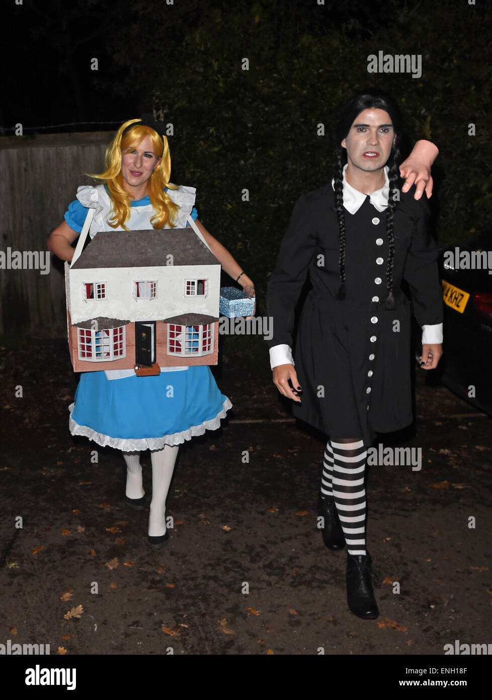 Addams Family Halloween Party.Jonathan Ross Halloween Party Arrivals Jimmy Carr Dresses As