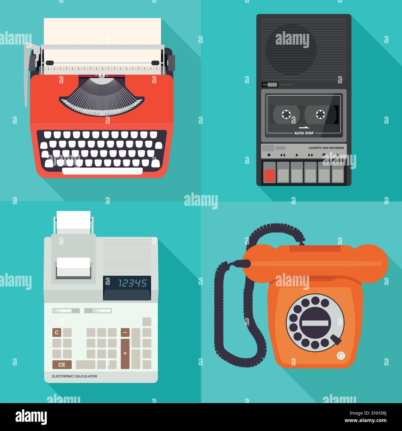 vector 1980's / eighties office equipment - Stock Vector