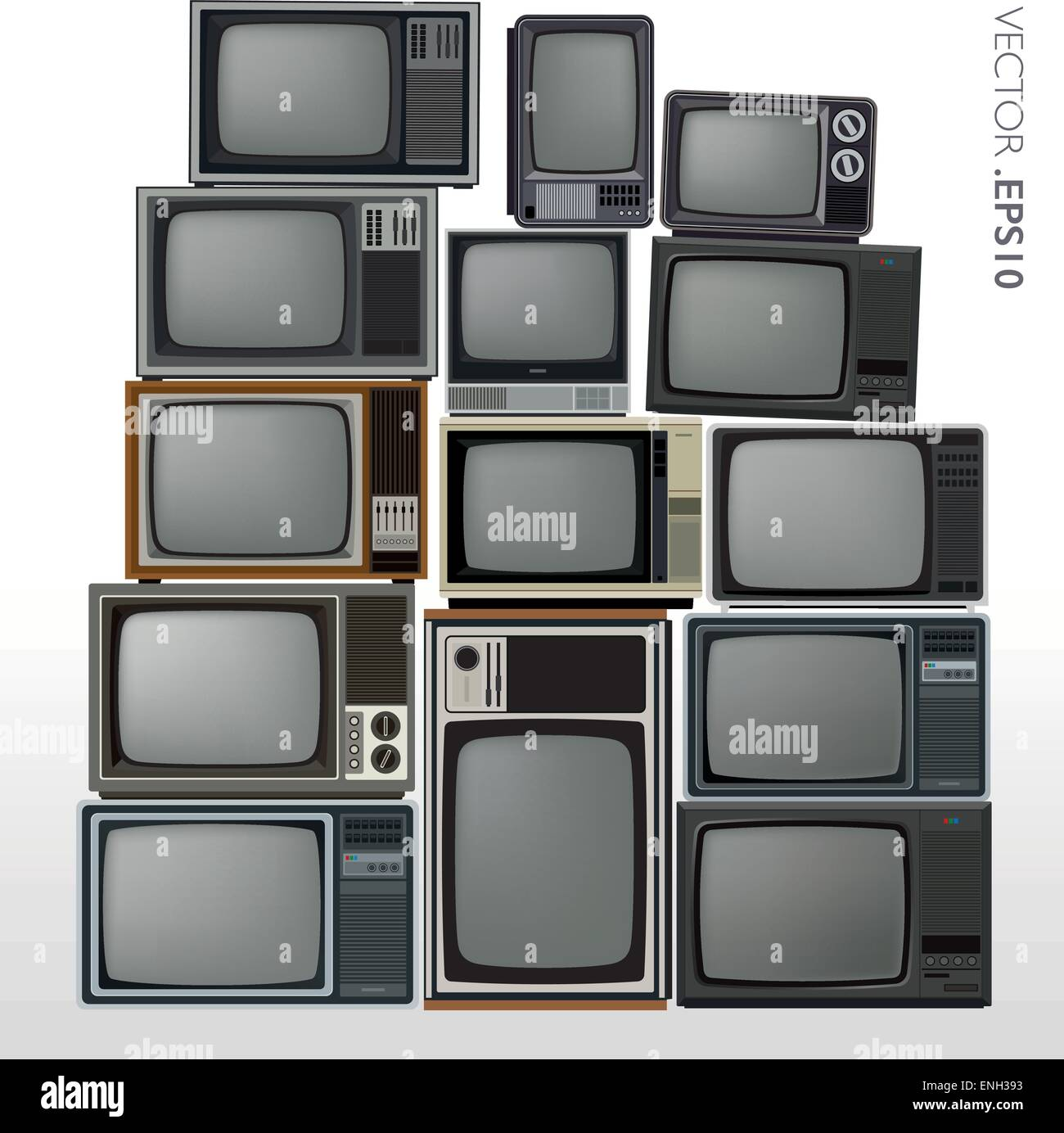 Vector set of stacked retro and vintage televisions - Stock Image