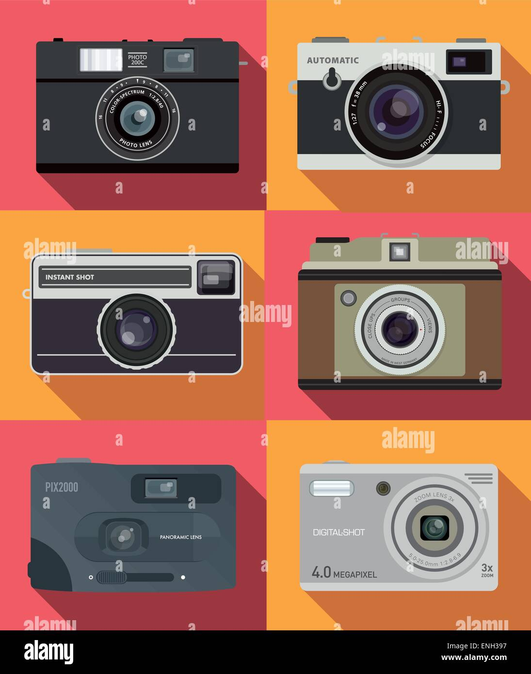 Vintage camera set. vector. - Stock Vector